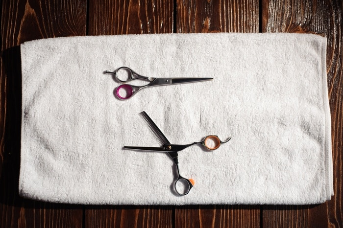 How-To-Harvest-Mint-scissors-and-towel