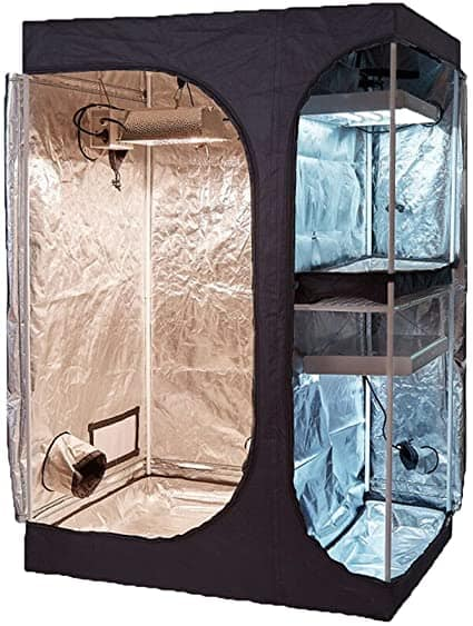 "TopoGrow 2-in-1 Indoor Grow Tent 60""X48""X80"" 600D High-Reflective W/2-Tiered for Lodge Propagation and Flower Plant Growing"
