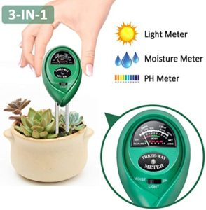 Alotpower 3-in-1 Soil Tester Meter, Moisture, pH,Light Meter Plant Tester