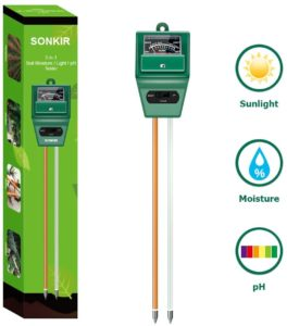 Sonkir Soil pH Meter, MS02 3-in-1 Soil Moisture/Light/pH Tester